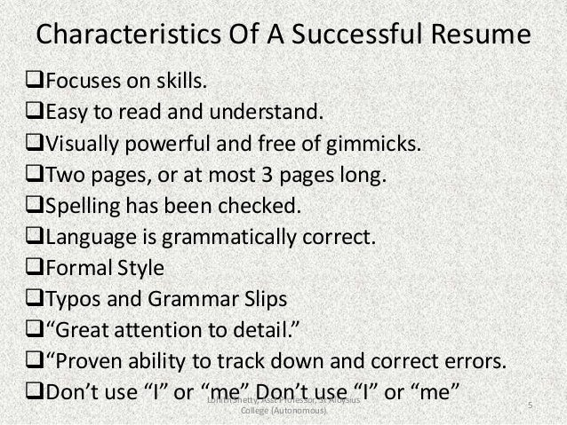 5 characteristics of a successful resume