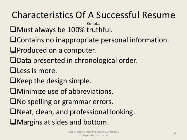Characteristics For Resume .