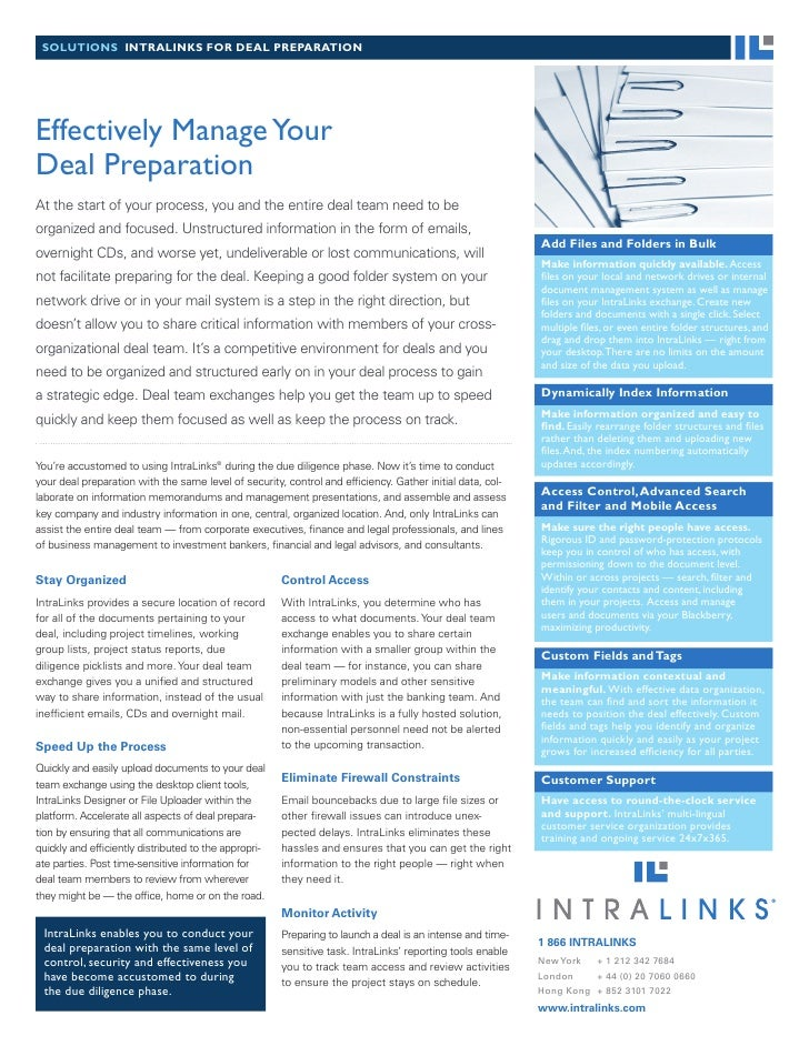 solutions intralinks for Deal PreParation     Effectively Manage Your Deal Preparation At the start of your process, you a...