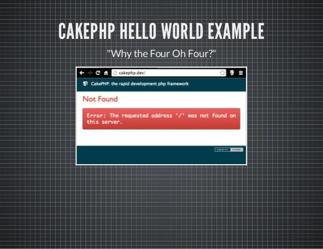 """CAKEPHP HELLO WORLD EXAMPLE """"Whythe Four Oh Four?"""""""