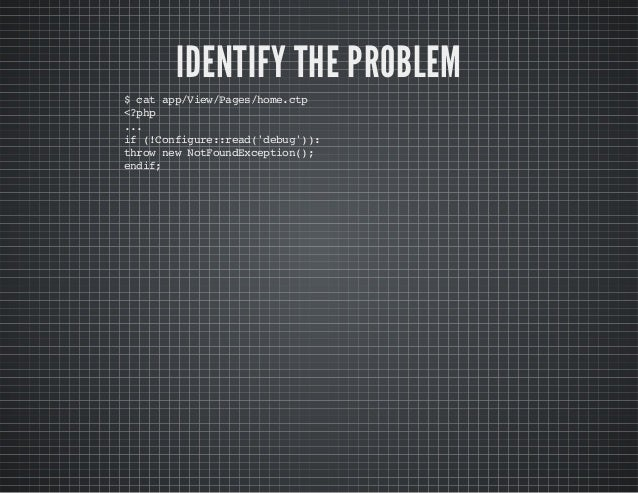 IDENTIFY THE PROBLEM $catapp/View/Pages/home.ctp <?php ... if(!Configure::read('debug')): thrownewNotFoundException(); end...