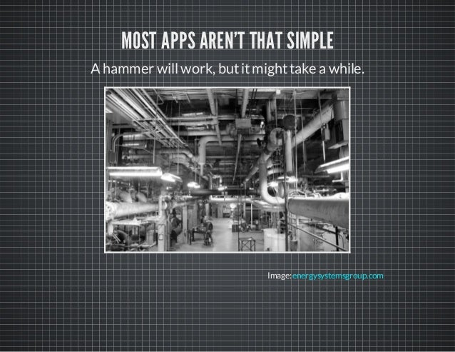 MOST APPS AREN'T THAT SIMPLE Ahammer willwork, butitmighttake awhile. Image:energysystemsgroup.com