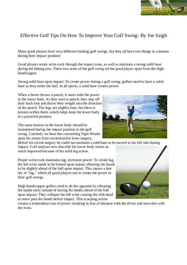 Effective golf tips on how to improve your golf swing by joe