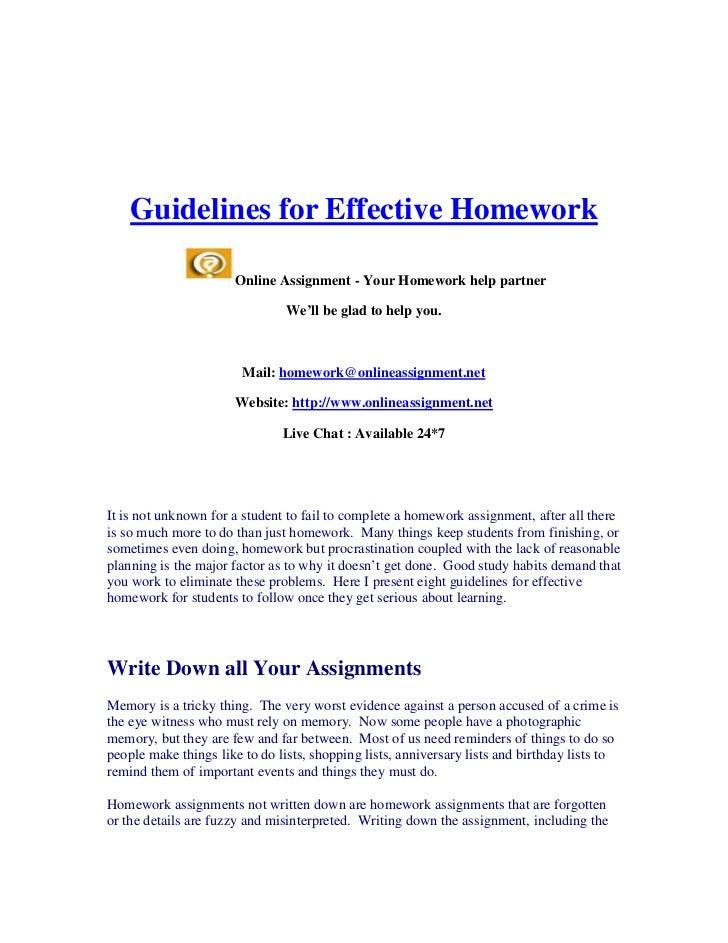 Guidelines for Effective Homework                      Online Assignment - Your Homework help partner                     ...