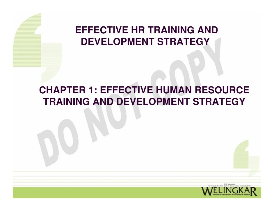 EFFECTIVE HR TRAINING AND       DEVELOPMENT STRATEGYCHAPTER 1: EFFECTIVE HUMAN RESOURCE TRAINING AND DEVELOPMENT STRATEGY