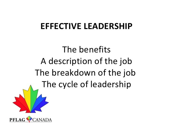 EFFECTIVE LEADERSHIP  The benefits A description of the job The breakdown of the job  The cycle of leadership