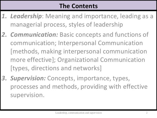 The role of effective communication and