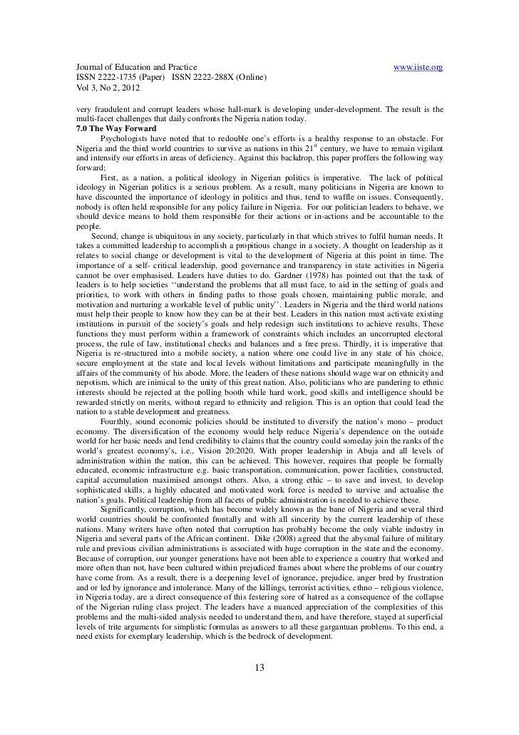 political stability in nigeria pdf