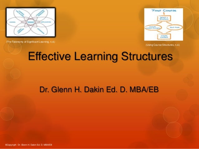 (The Taxonomy of Significant Learning. n.d.) (Using Course Structures, n.d.)  Effective Learning Structures Dr. Glenn H. D...