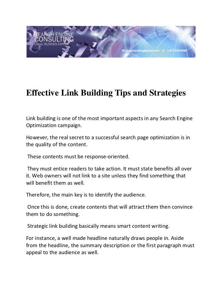 Effective Link Building Tips and StrategiesLinkbuildingisoneofthemostimportantaspectsinanySearchEngineOpti...