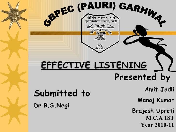 Presented by  Amit Jadli Manoj Kumar Brajesh Upreti M.C.A 1ST Year 2010-11 GBPEC (PAURI) GARHWAL Submitted to   Dr B.S.Neg...