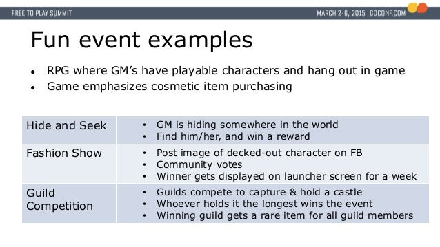 Fun event examples ● RPG where GM's have playable characters and hang out in game ● Game emphasizes cosmetic item purchasi...