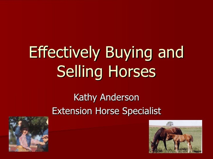 Effectively Buying and Selling Horses Kathy Anderson Extension Horse Specialist