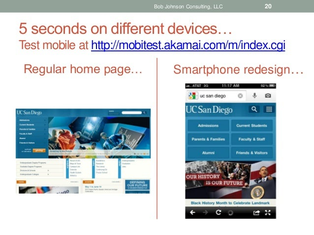 Bob Johnson Consulting, LLC  20  5 seconds on different devices… Test mobile at http://mobitest.akamai.com/m/index.cgi Reg...