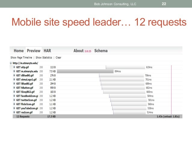 Bob Johnson Consulting, LLC  22  Mobile site speed leader… 12 requests