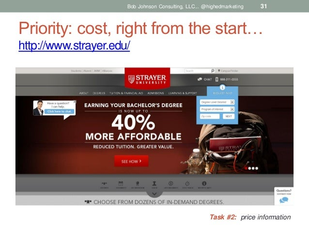 Bob Johnson Consulting, LLC... @highedmarketing  31  Priority: cost, right from the start… http://www.strayer.edu/  Task #...