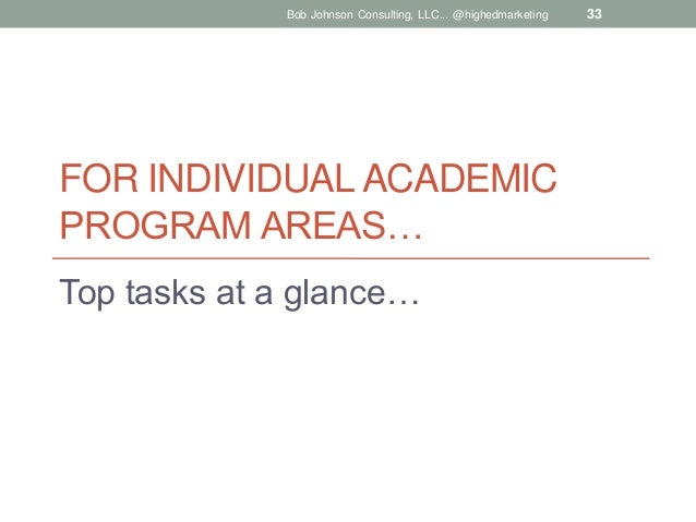 Bob Johnson Consulting, LLC... @highedmarketing  FOR INDIVIDUAL ACADEMIC PROGRAM AREAS… Top tasks at a glance…  33