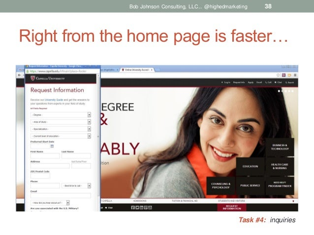 Bob Johnson Consulting, LLC... @highedmarketing  38  Right from the home page is faster…  Task #4: inquiries