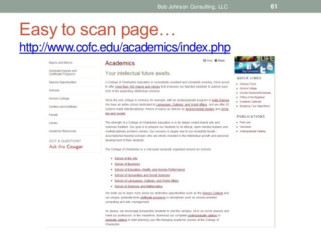 Bob Johnson Consulting, LLC  Easy to scan page… http://www.cofc.edu/academics/index.php  61