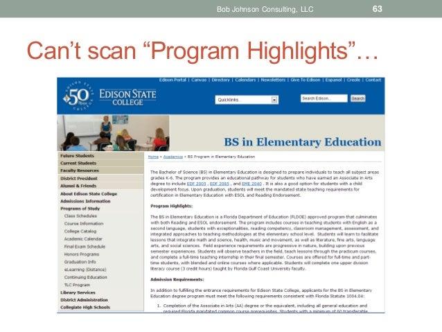 "Bob Johnson Consulting, LLC  63  Can't scan ""Program Highlights""…"