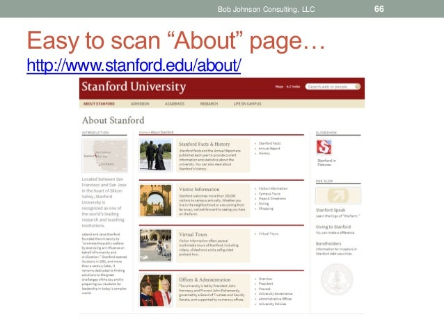 """Bob Johnson Consulting, LLC  Easy to scan """"About"""" page… http://www.stanford.edu/about/  66"""