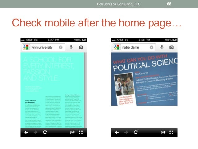 Bob Johnson Consulting, LLC  68  Check mobile after the home page…