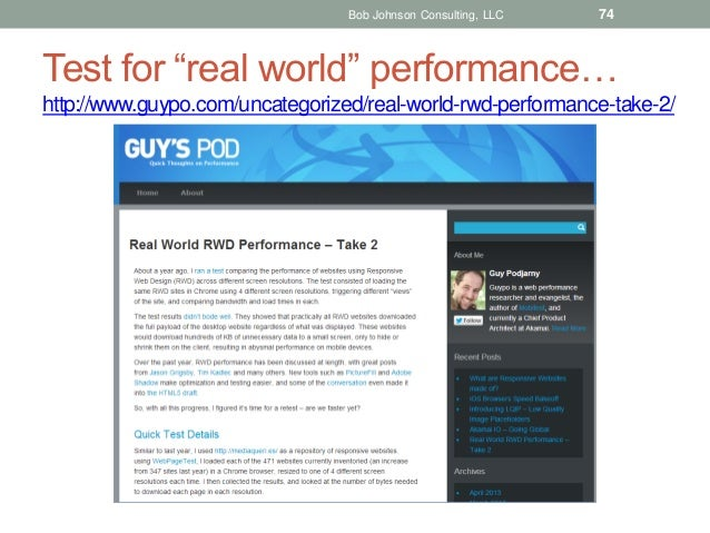 """Bob Johnson Consulting, LLC  74  Test for """"real world"""" performance… http://www.guypo.com/uncategorized/real-world-rwd-perf..."""