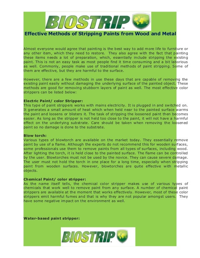 Effective Methods Of Stripping Paints From Wood And Metal