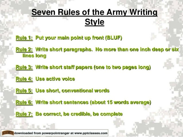 The Army: The Army Writing Style