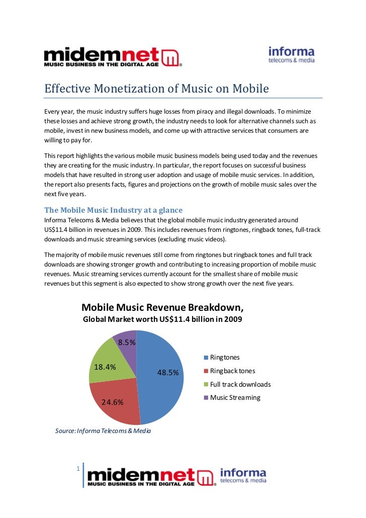 Effective Monetization of Music on Mobile Every year, the music industry suffers huge losses from piracy and illegal downl...
