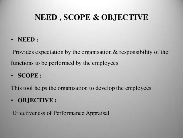 scope of performance appraisal project