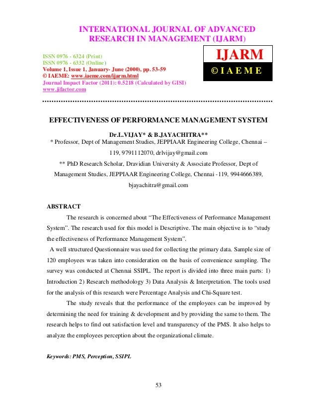Effectiveness of performance management system
