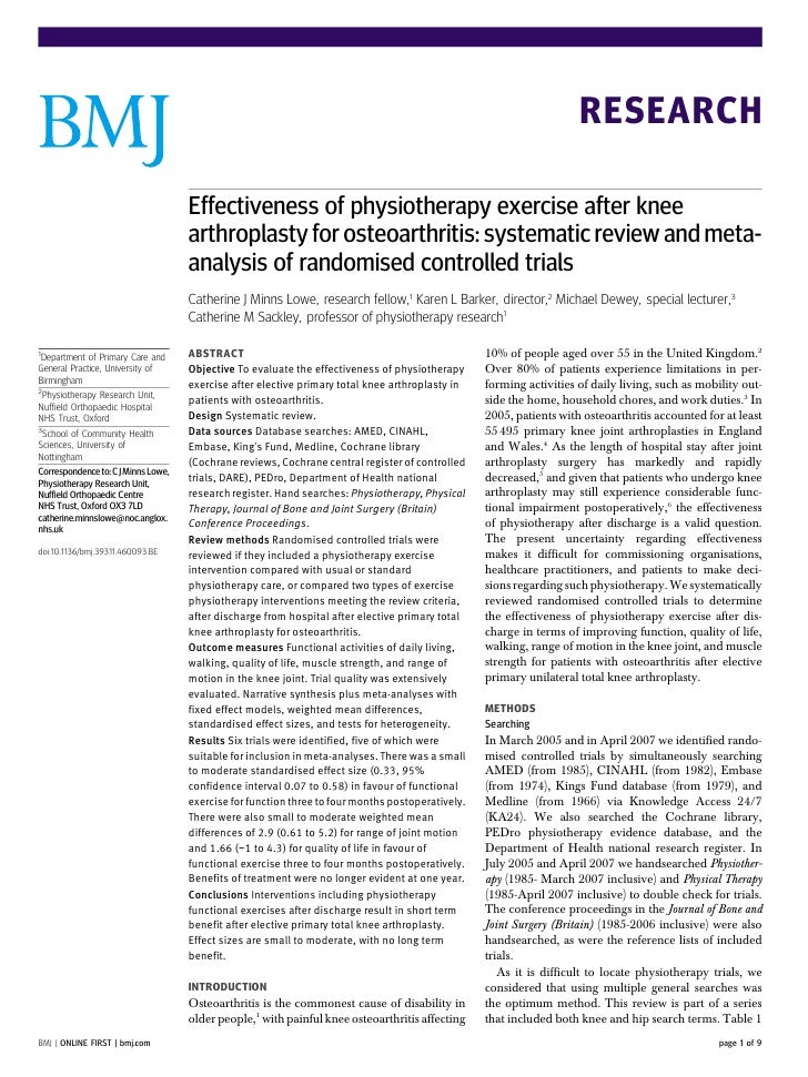 RESEARCH                                     Effectiveness of physiotherapy exercise after knee                           ...