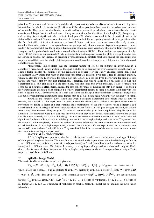 Effectiveness of split plot design over randomized complete