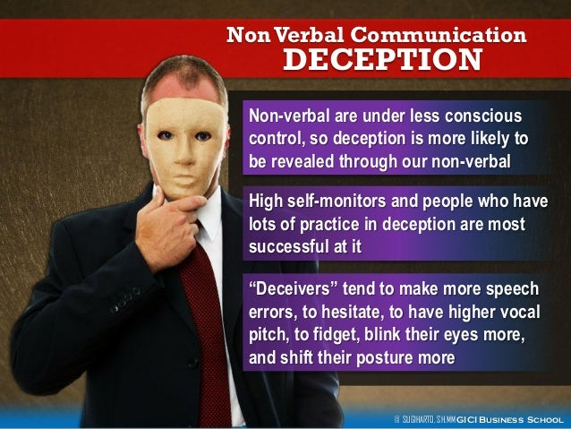 identifying deception through nonverbal communication Knowledge, to identify reliable indicators of deception through controlled   behavior management refers to efforts to control accompanying nonverbal.