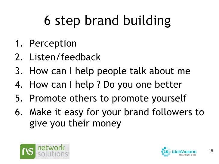6 step brand building  <ul><li>Perception </li></ul><ul><li>Listen/feedback </li></ul><ul><li>How can I help people talk a...