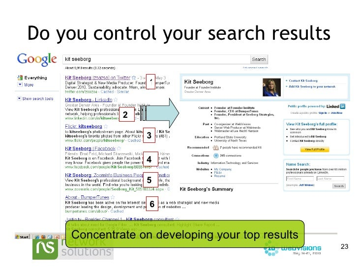 Do you control your search results 1 2 6 3 4 5 Concentrate on developing your top results