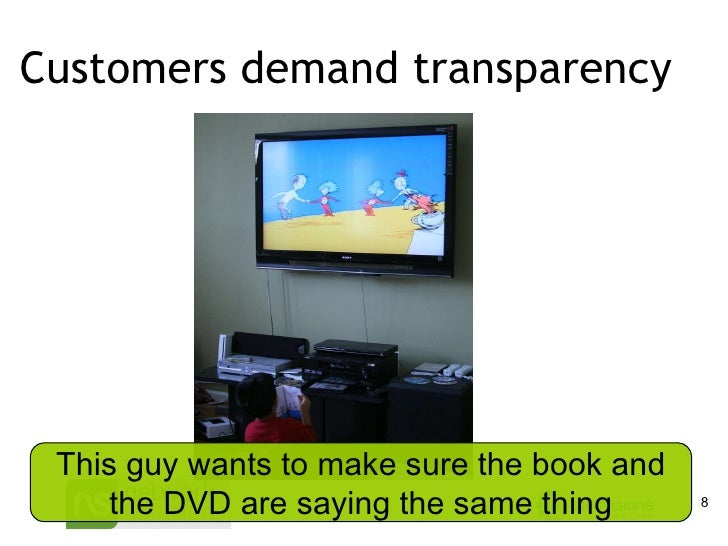 Customers demand transparency This guy wants to make sure the book and the DVD are saying the same thing