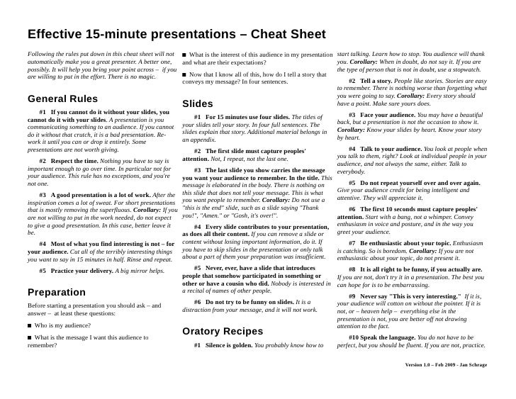 effective 15-minute presentations