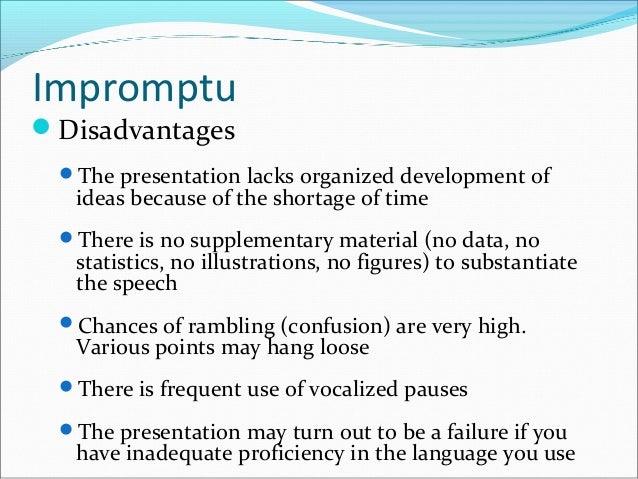 Advantages Of Impromptu Speech