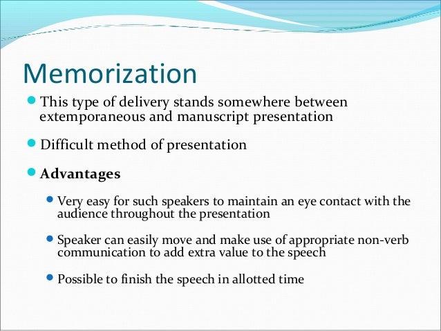 advantages of manuscript speech