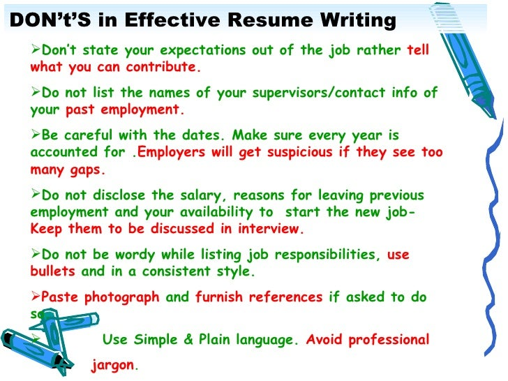 Perfect 13. DONu0027tu0027S In Effective Resume Writing ...