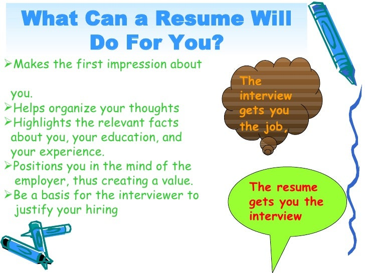What Can a Resume Will         Do For You? Makes the first impression about                                      The  you...
