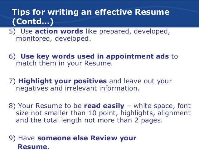 Tips For An Effective Resume Effective Resume Writing 100 Blogs