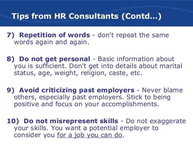 resume writing words to avoid