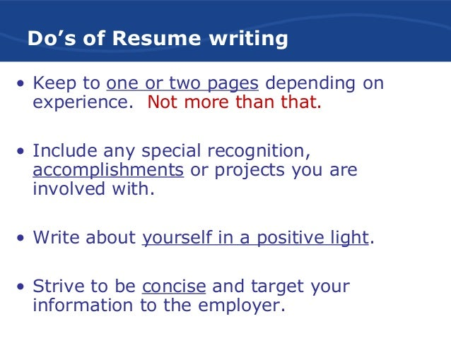 dos of resume writing 6 effective resume writing - Effective Resume Writing