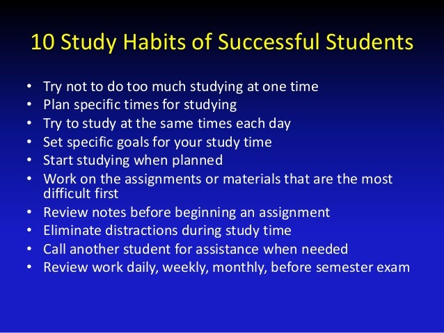 study habits of working students It is never too late to develop great study habits  homework station where you work each night  because students don't understand how to study in a way that .