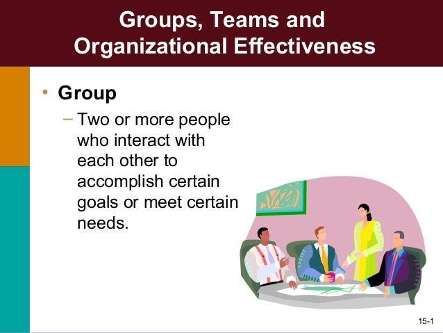 15-1 Groups, Teams and Organizational Effectiveness • Group – Two or more people who interact with each other to accomplis...