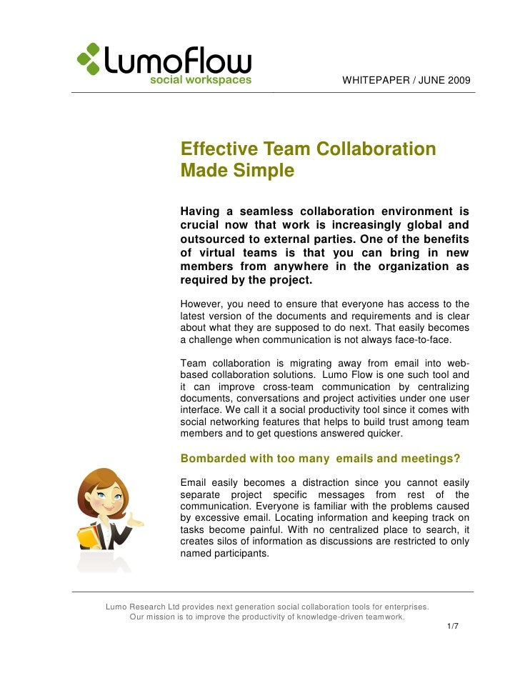 WHITEPAPER / JUNE 2009                        Effective Team Collaboration                    Made Simple                 ...