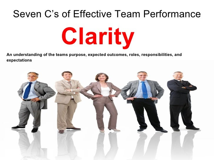 effective team performance Seven c's of effective team performance communicationan understanding of positive communication practices, including active listening, and giving and receiving feedback 23 seven c's of effective team performancecontinuous improvement an commitment to continuously improve work processes.